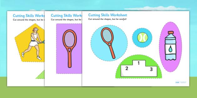 Wimbledon Themed Cutting Skills Worksheet - tennis, sports, pe