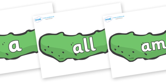 Foundation Stage 2 Keywords on Pickles to Support Teaching on The Very Hungry Caterpillar - FS2, CLL, keywords, Communication language and literacy,  Display, Key words, high frequency words, foundation stage literacy, DfES Letters and Sounds, Letter
