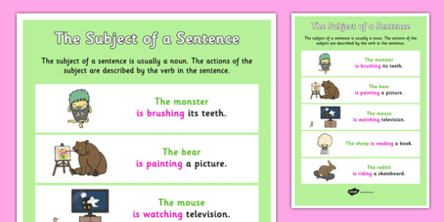 The Subject of a Sentence - subject, sentence, subject of, sen