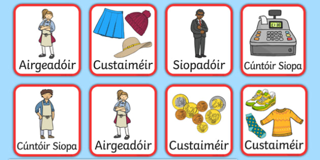 An Siopa Éadaí - Irish Clothes Shop Role Play Role Badges - Irish, Gaeilge, role play, clothes, clothes shop, éadaí, eadai, an siopa éadaí, resource pack, role play badges