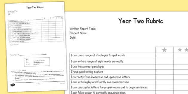 Written Report Rubric Year Two - australia, written, report, rubric, two