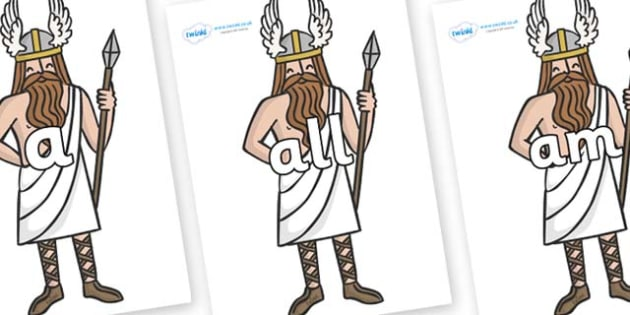 Foundation Stage 2 Keywords on Viking Gods - FS2, CLL, keywords, Communication language and literacy,  Display, Key words, high frequency words, foundation stage literacy, DfES Letters and Sounds, Letters and Sounds, spelling