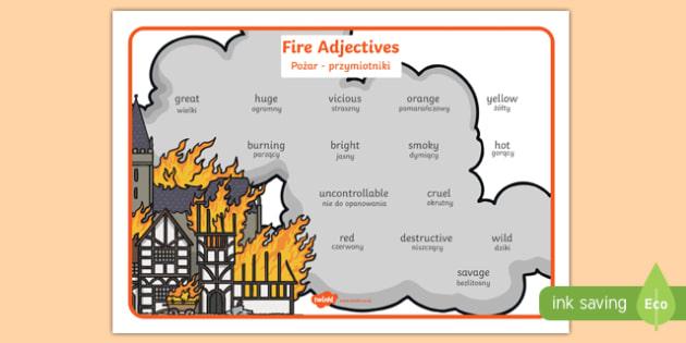 Fire adjectives word mat English/Polish