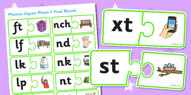 Phonics Jigsaw Phase 4 Final Blends - phase 4, phase four, phases, phonics, jigsaw, phonics jigsaw, phonics games, phonics activites, games, activities