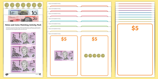 Workstation Pack: Notes and Coins Matching Activity Pack - australia, Autism, ASD, TEACCH, early intervention, workstations