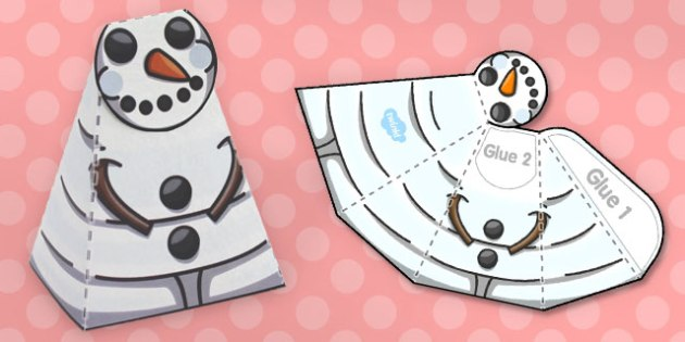 Simple Snowman Paper Model - models, frozen, crafts, craft, snow