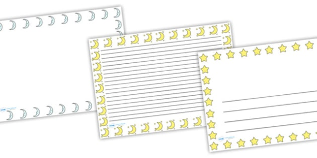 Stars and Moon Night Time Landscape Page Borders - star and moon page borders, stars page border, moon page border, night page borders, night writing frame