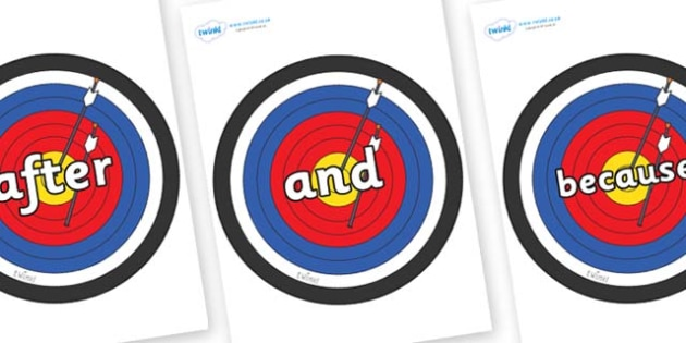 Connectives on Archery Targets - Connectives, VCOP, connective resources, connectives display words, connective displays
