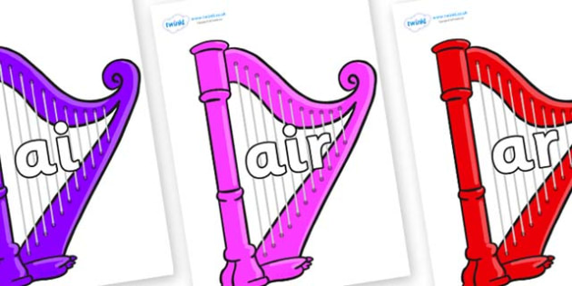Phase 3 Phonemes on Harps - Phonemes, phoneme, Phase 3, Phase three, Foundation, Literacy, Letters and Sounds, DfES, display