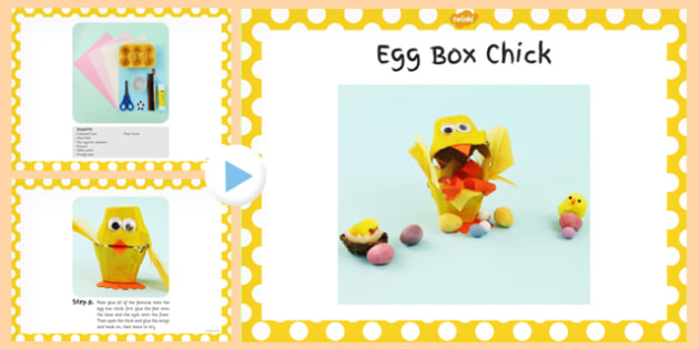 Egg Box Chick Craft Instructions PowerPoint - powerpoint, craft