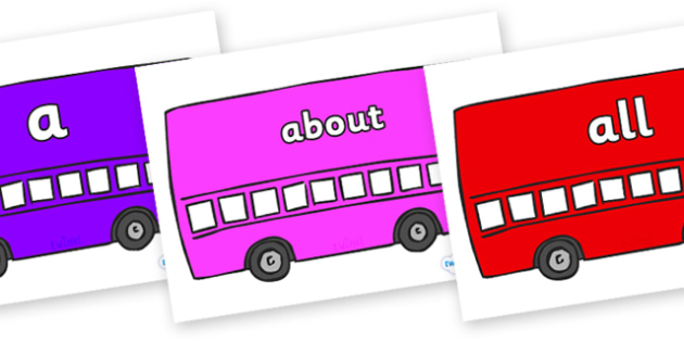 100 High Frequency Words on Buses - High frequency words, hfw, DfES Letters and Sounds, Letters and Sounds, display words