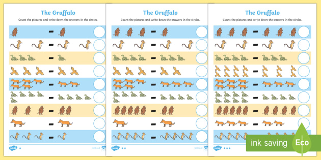 Subtraction Activity Sheet to Support Teaching on The Gruffalo - subtraction, activity, support, teach, the gruffalo