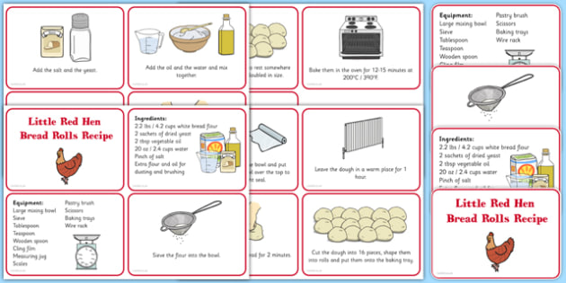 Little Red Hen Recipe Cards - usa, america, EYFS planning, Early years activities, traditional tales, baking, food