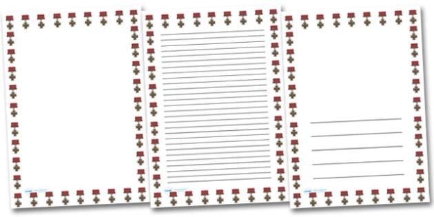 Victoria Cross Portrait Page Borders- Portrait Page Borders - Page border, border, writing template, writing aid, writing frame, a4 border, template, templates, landscape