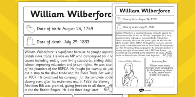 William Wilberforce Significant Individual Fact Sheet - facts
