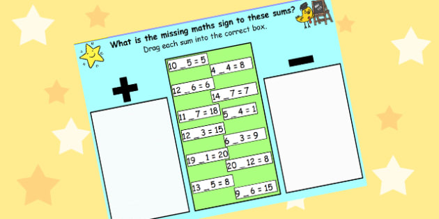 Missing Maths Signs Plus or Minus for IWB - add, subtract, maths