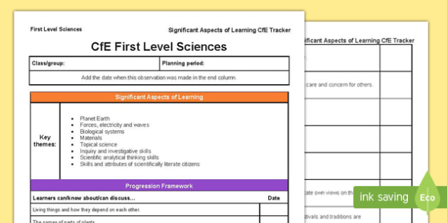 Sciences Significant Aspects of Learning and Progression Framework CfE First Level Tracker Tracker-Scottish