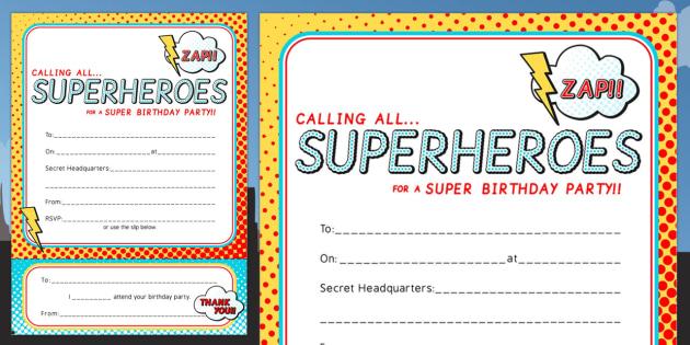 Superhero Themed Birthday Party Invitations - birthdays, parties