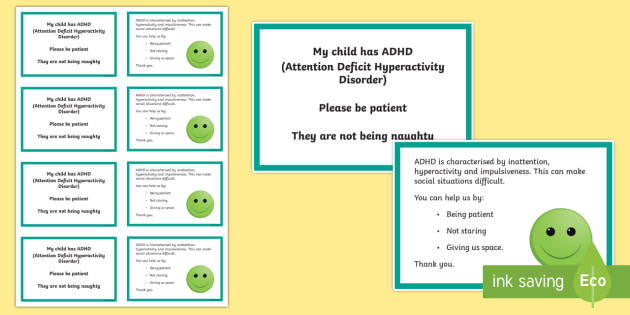 ADHD Awareness Information Cards - ICE, in case of emergency, out and about, independence, ADHD, ADD
