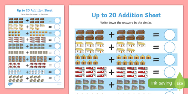 Houses and Homes Up to 20 Addition Sheet