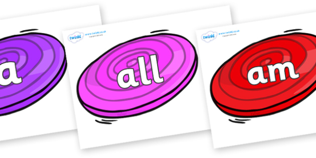 Foundation Stage 2 Keywords on Frisbees - FS2, CLL, keywords, Communication language and literacy,  Display, Key words, high frequency words, foundation stage literacy, DfES Letters and Sounds, Letters and Sounds, spelling