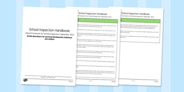Grade Descriptors for Personal Development, Behaviour and Welfare Descriptors Ofsted September 2015 - inspection, slt, assessment, progress, monitoring