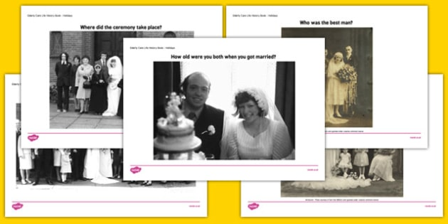 Elderly Care Life History Book Wedding Day Picture Prompts - Elderly, Reminiscence, Care Homes, Life History Books