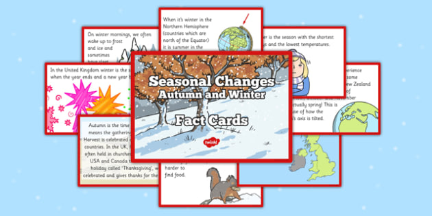 Seasonal Changes Autumn and Winter Fact Cards - autumn facts, winter facts, seasonal, season, changes