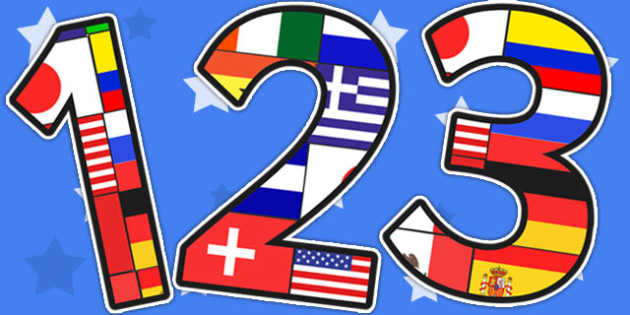 Football World Cup Flag Themed Display Numbers - sports, pe