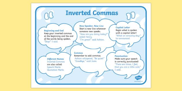 Inverted Commas Poster Mat - speech marks, speech marks poster, how to use speech marks poster, when to use speech marks, using speech marks, ks2 literacy
