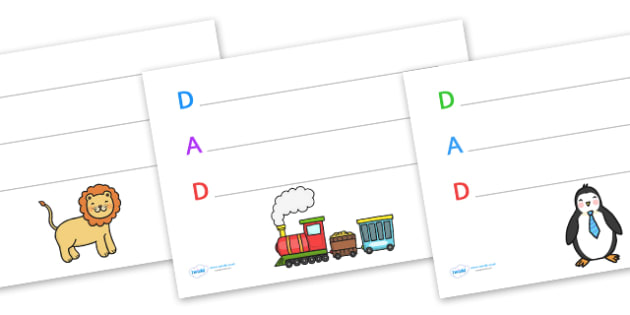 Father's Day Acrostic Poem Writing Frames Dad - father, poems