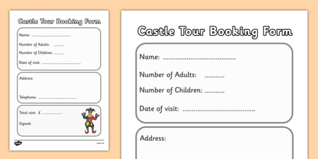 Medieval Castle Role Play Booking Form - Medieval castle, castle, castles and knights, booking form, tickets, ticket, history, role play, turret, moat, drawbridge, maiden, knight