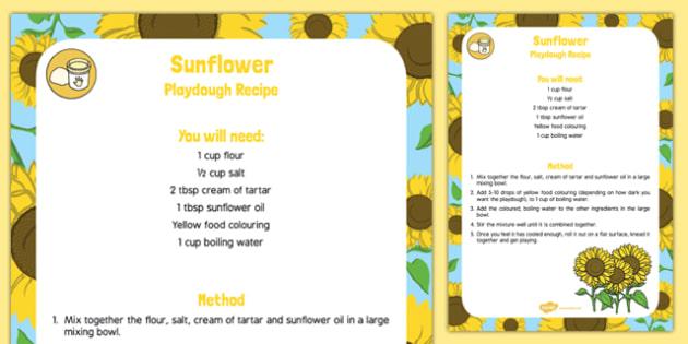 Sunflower Playdough Recipe - sunflower oil, sunflower, playdough, recipe, plants, growing