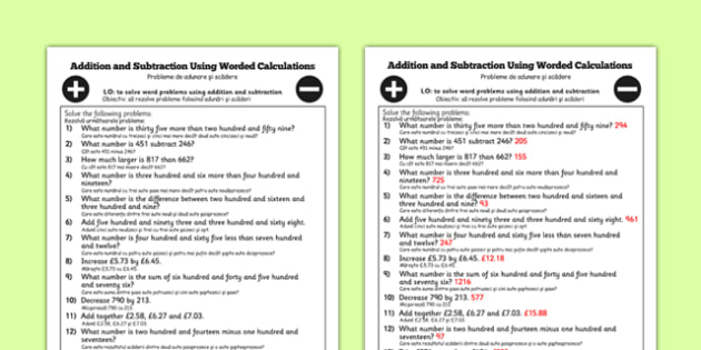 Addition and Subtraction Using Worded Calculations Year 3 Romanian Translation - romanian, Add, subtract