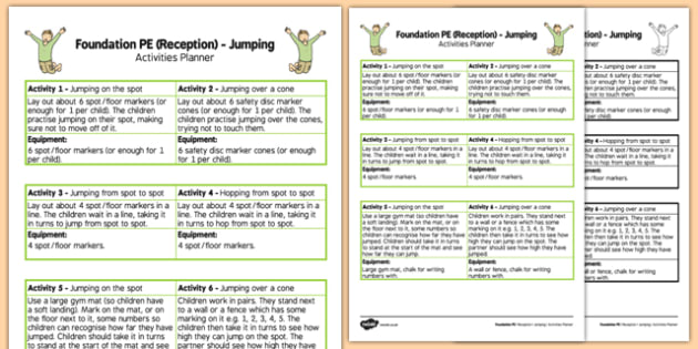 Foundation PE (Reception) Jumping Activities Planner - EYFS, Physical development, PE