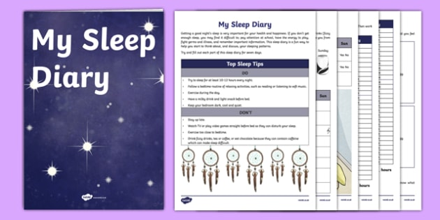 My Sleep Diary Activity Sheet Pack, worksheet