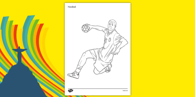 Rio 2016 Olympics Handball Colouring Sheets - Handball, Olympics, Olympic Games, sports, Olympic, London, 2012, colouring, fine motor skills, poster, worksheet, vines, A4, display, activity, Olympic torch, events, flag, countries, medal, Olympic Ring