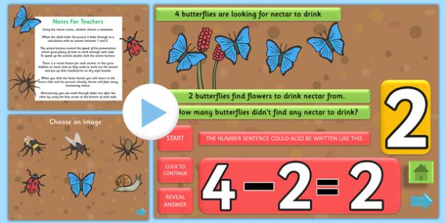 Minibeast Themed Subtraction PowerPoint - minibeast, subtraction, take away, minus, powerpoint, subtraction powerpoint, math, numeracy, numeracy powerpoint