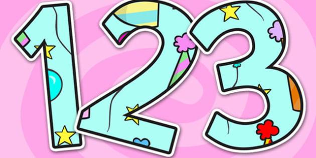 Birthday Themed A4 Display Numbers - birthday, display numbers, birthday display numbers, numbers, numbers for display, display, a4 display numbers, a4