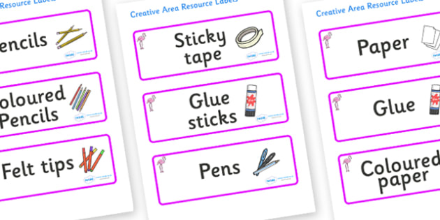 Flamingo Themed Editable Creative Area Resource Labels - Themed creative resource labels, Label template, Resource Label, Name Labels, Editable Labels, Drawer Labels, KS1 Labels, Foundation Labels, Foundation Stage Labels