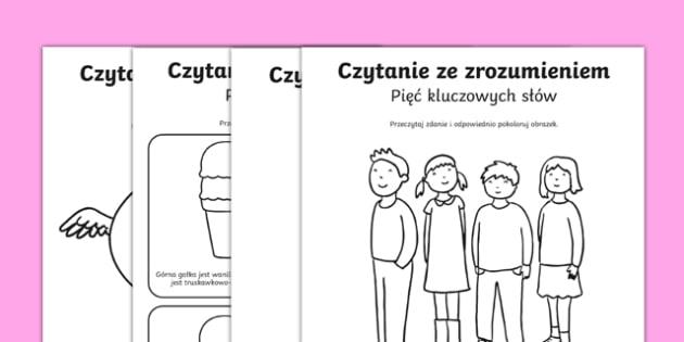 Karta Czytanie ze zrozumieniem Pięć słów kluczowych po polsku , worksheet