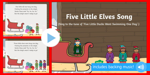 Five Little Elves Song PowerPoint