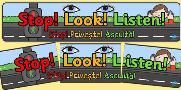 Stop Look Listen Display Banner Romanian Translation - romanian, stop, look, listen