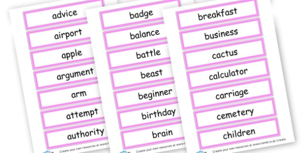 Nouns Word Cards - KS2 Nouns, Words and Vocabulary, Literacy, KS2 English