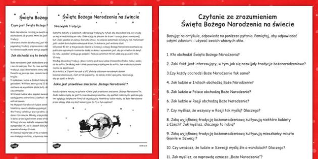 Christmas around the World Comprehension Sheet Polish - reading, festive, questions, topic, ks1, ks2,