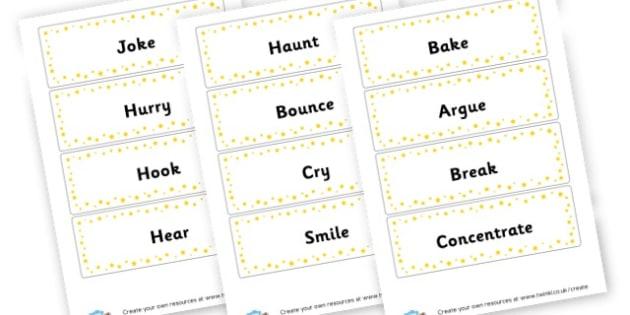 Verbs Flash Cards - Verb Primary Resources, verbs, noun, adjective, wow, keywords