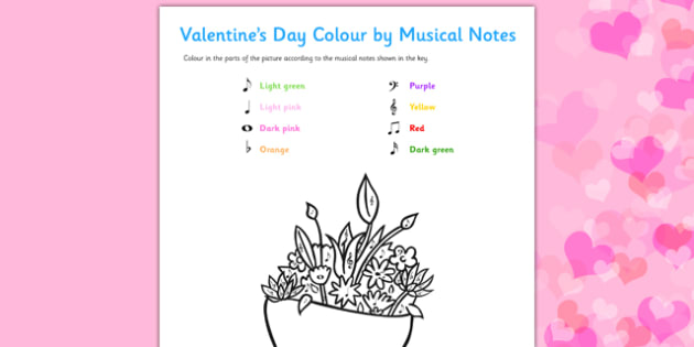 Valentine's Day Colour by Musical Notes Activity Sheet - colour, musical notes, activity, sheet, valentines day, worksheet