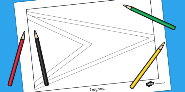 Guyana Flag Colouring Sheet - geography, countries, colour