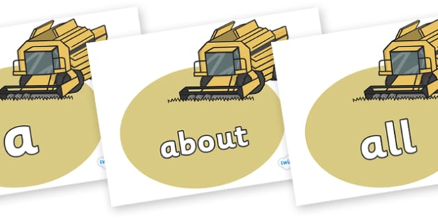 100 High Frequency Words on Combine Harvesters - High frequency words, hfw, DfES Letters and Sounds, Letters and Sounds, display words