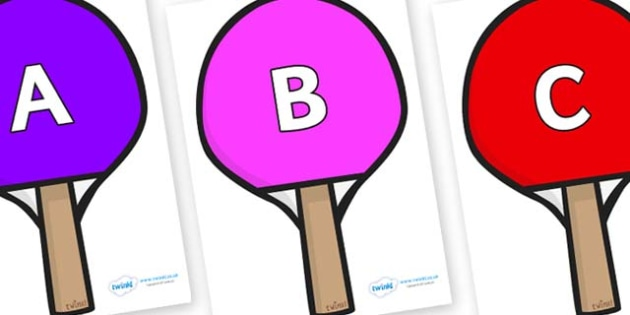 A-Z Alphabet on Table Tennis Bats - A-Z, A4, display, Alphabet frieze, Display letters, Letter posters, A-Z letters, Alphabet flashcards